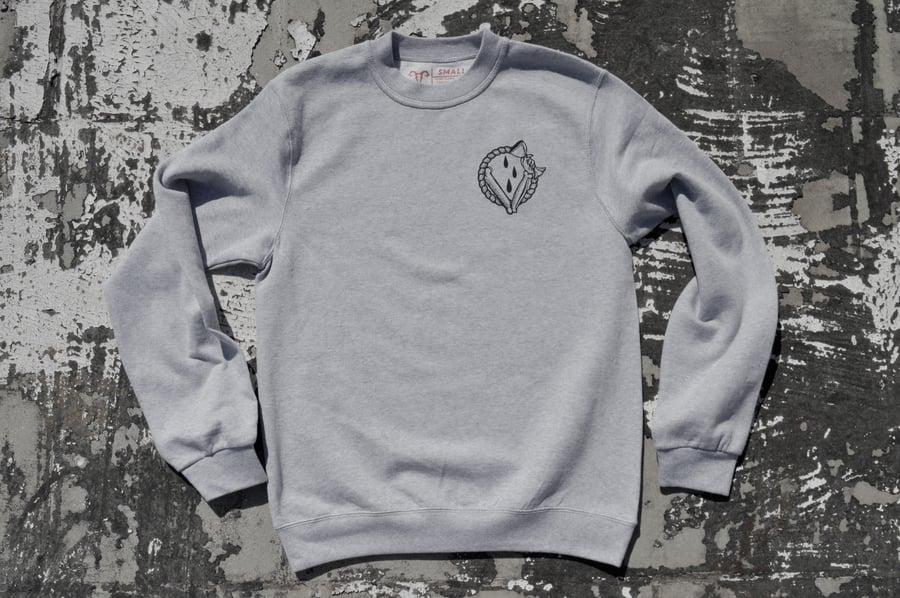 "Image of ""In Vino Veritas"" Heather Grey Crewneck Sweatshirt"