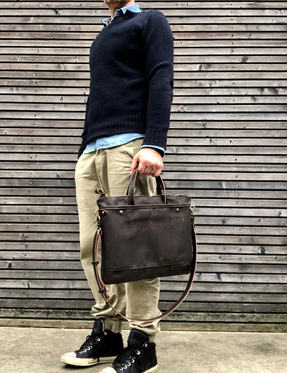 Image of Briefcase / Satchel in waxed canvas and leather COLLECTION UNISEX