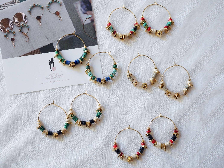 Image of Créoles Disques Multicolore 5 coloris