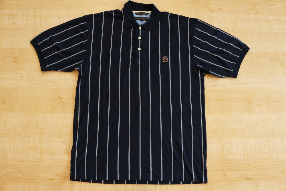 Image of Vintage 1990's Tommy Hilfiger Striped Crest Collared Shirt Sz.M