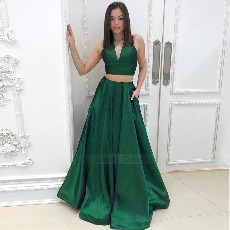 Image of Designer Green V-Neck Halter Satin Two-Piece A-Line Long Prom Dress With Pockets