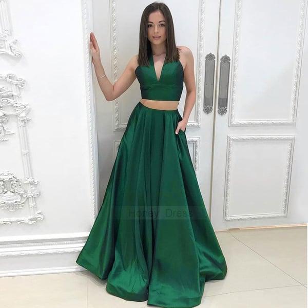Image of Designer Green V-Neck Halter Satin Two-Piece A-Line Long Prom Dress With Pockets