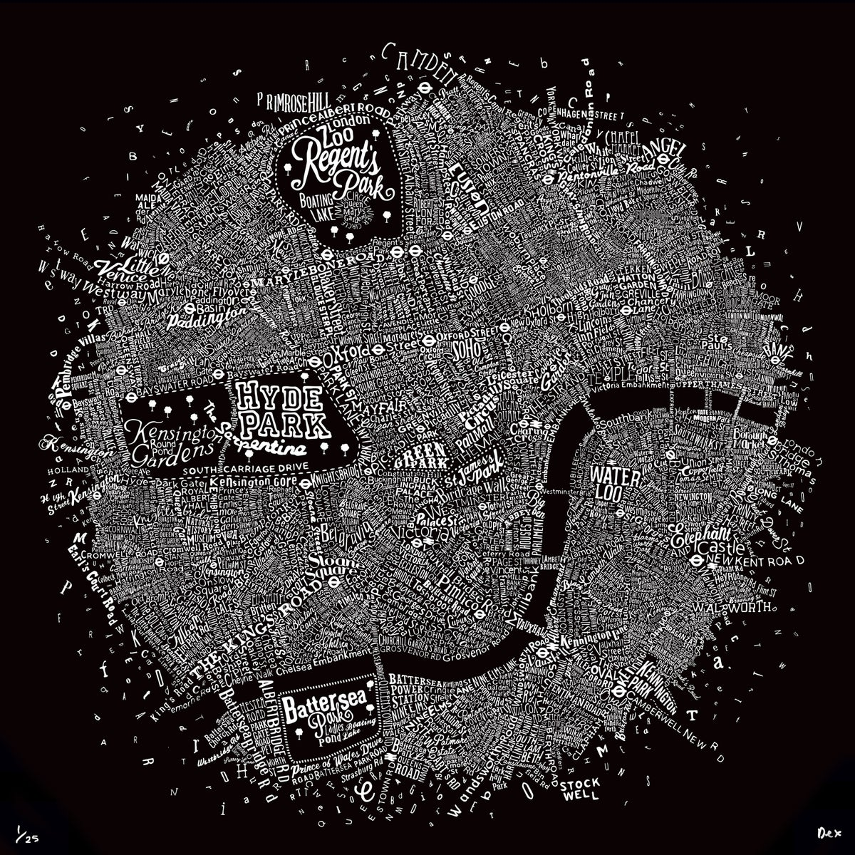 Image of Typographic Street Map Of Central London (Black)