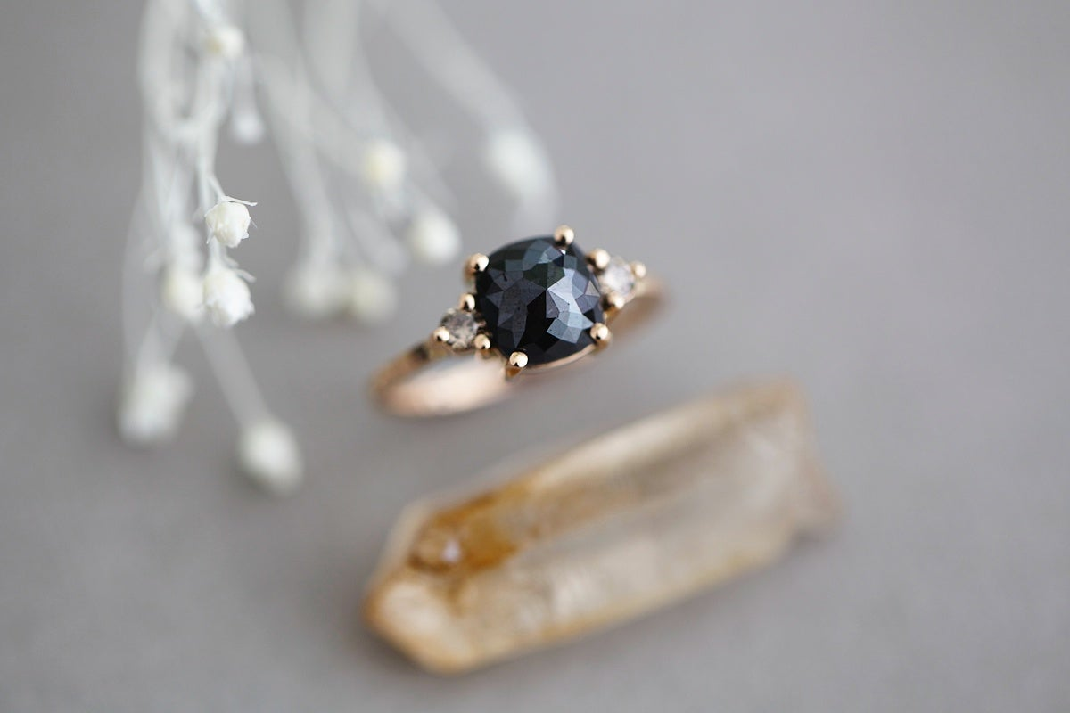 Image of NEW Rose gold,  cut black diamond ring IOW102