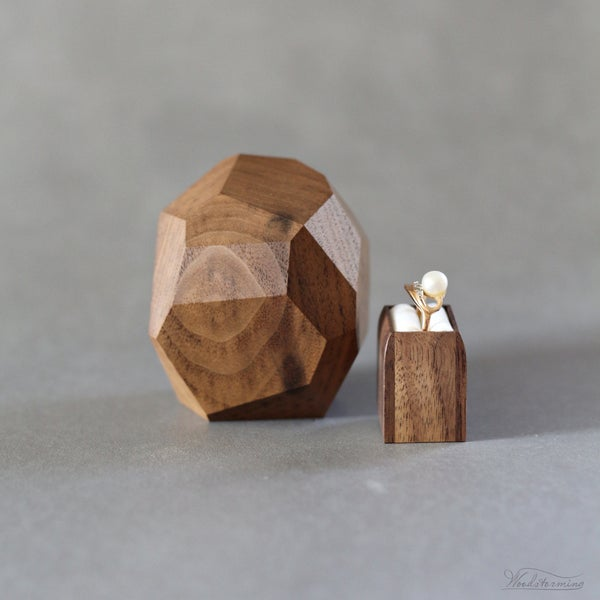 Image of Faceted wood ring box - ready to ship