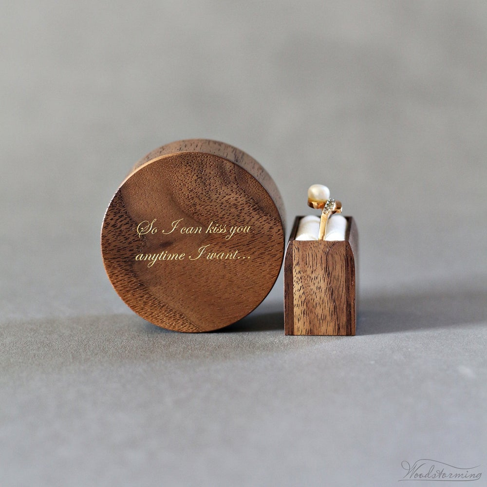 Image of Round engagement ring box with love qoute inlay - ready to ship