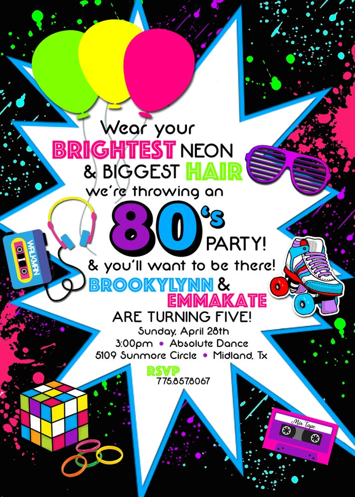 Image of Neon 80s Party Invitation & Chalkboards