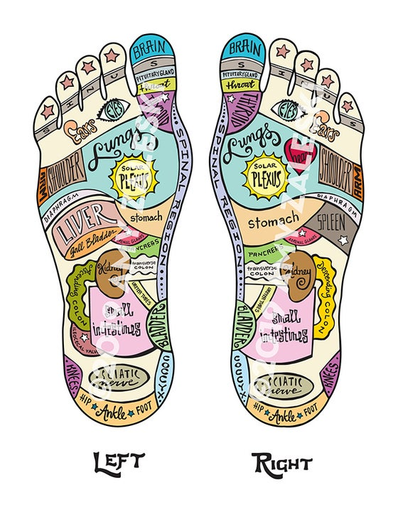 Image of Reflexology Foot Map ©2019 Amy Zaleski