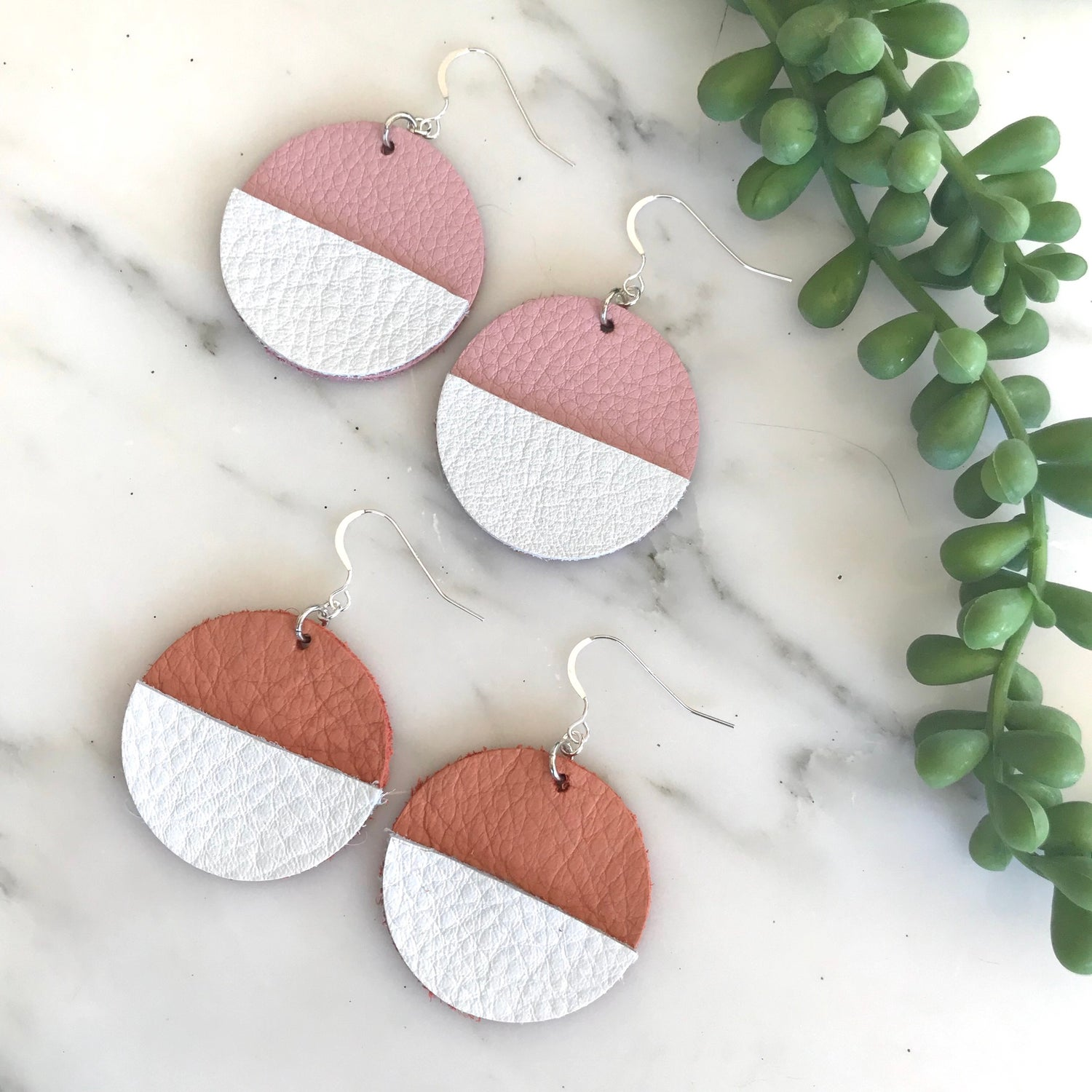 Geometric Leather Earrings