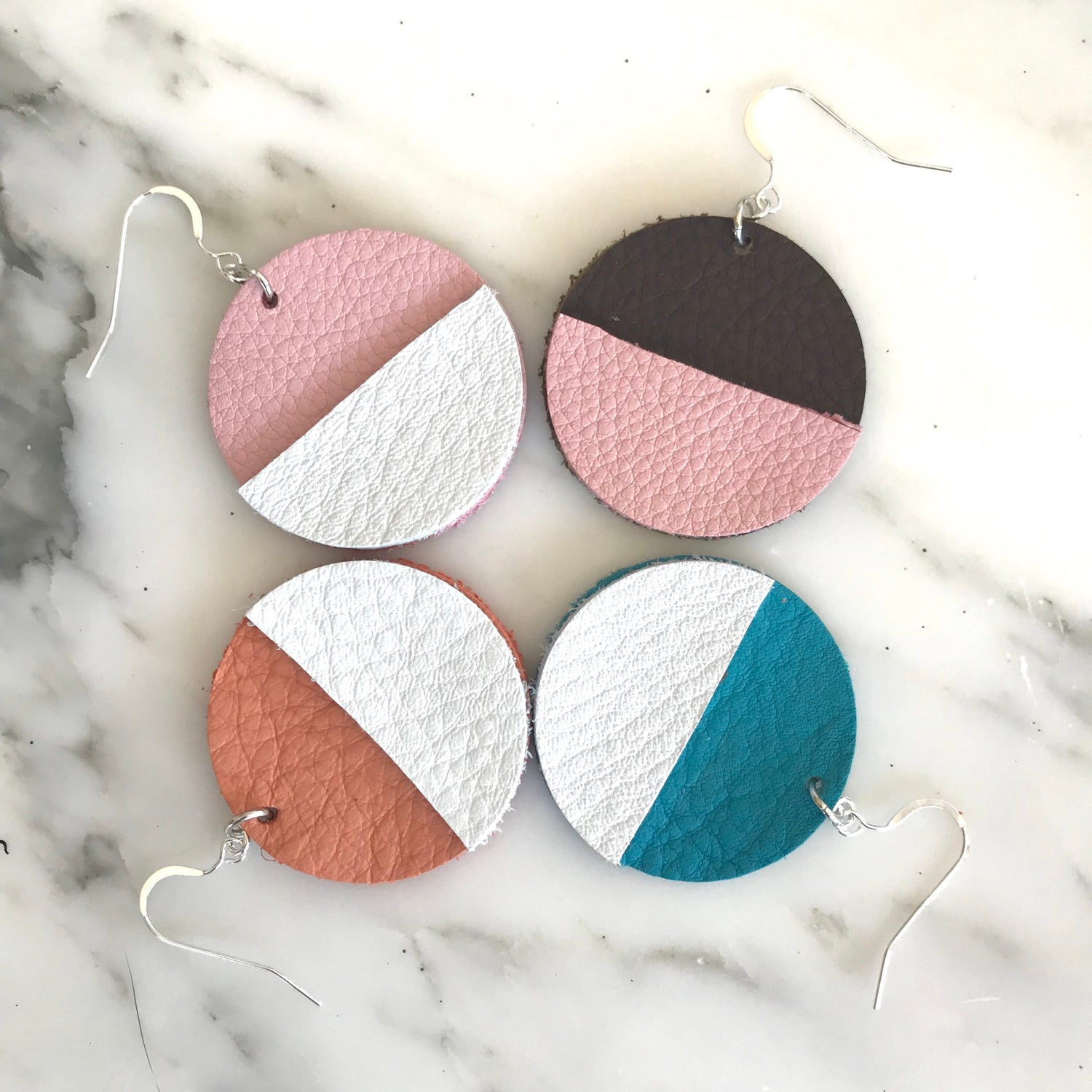 Image of Geometric Leather Earrings