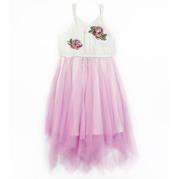 Image of Applique Mesh Girls Dress
