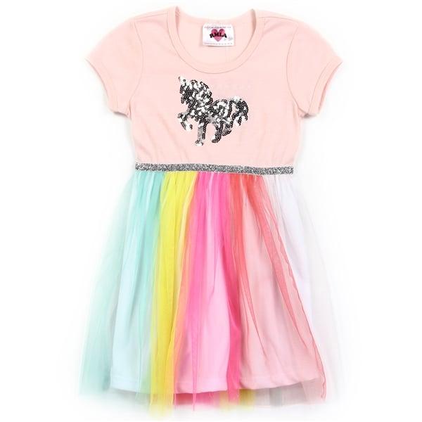 Image of Girls Toddler Rainbow Mesh Dress