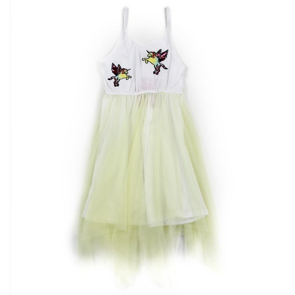 Image of Little Girls Yellow Unicorn Applique Mesh Dress