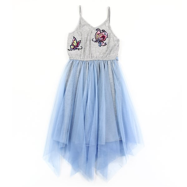 Image of Little Girls Blue Butterfly Applique Mesh Dress