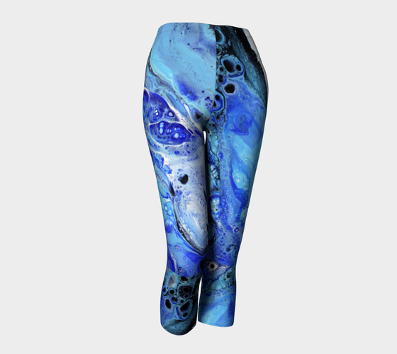 Image of Blue Lagoon Capri Yoga Leggings