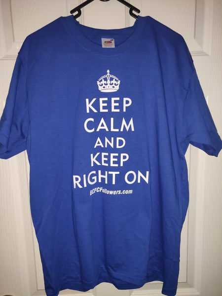 Image of Blue Men's Keep Calm And Keep Right On T-Shirt