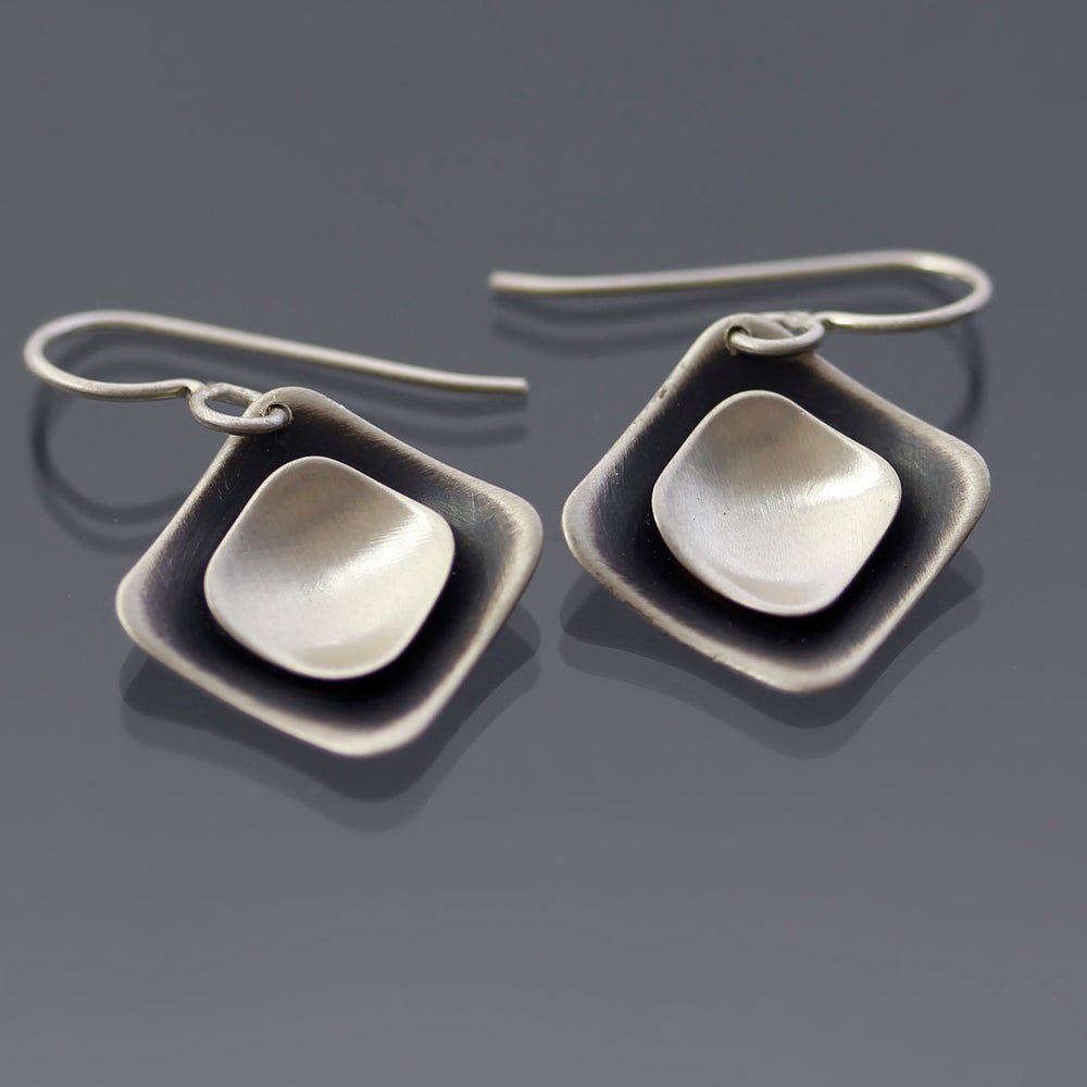 Image of Sterling Silver Layered Diamond-shaped Earrings
