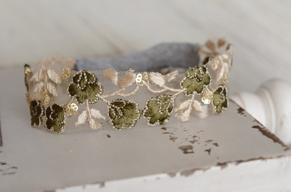 Image of Tulle embroidery headband (green)