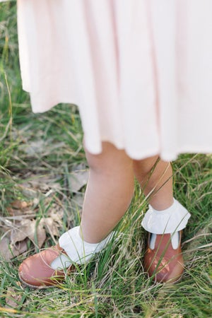 Image of Faux Suede Ruffle Socks