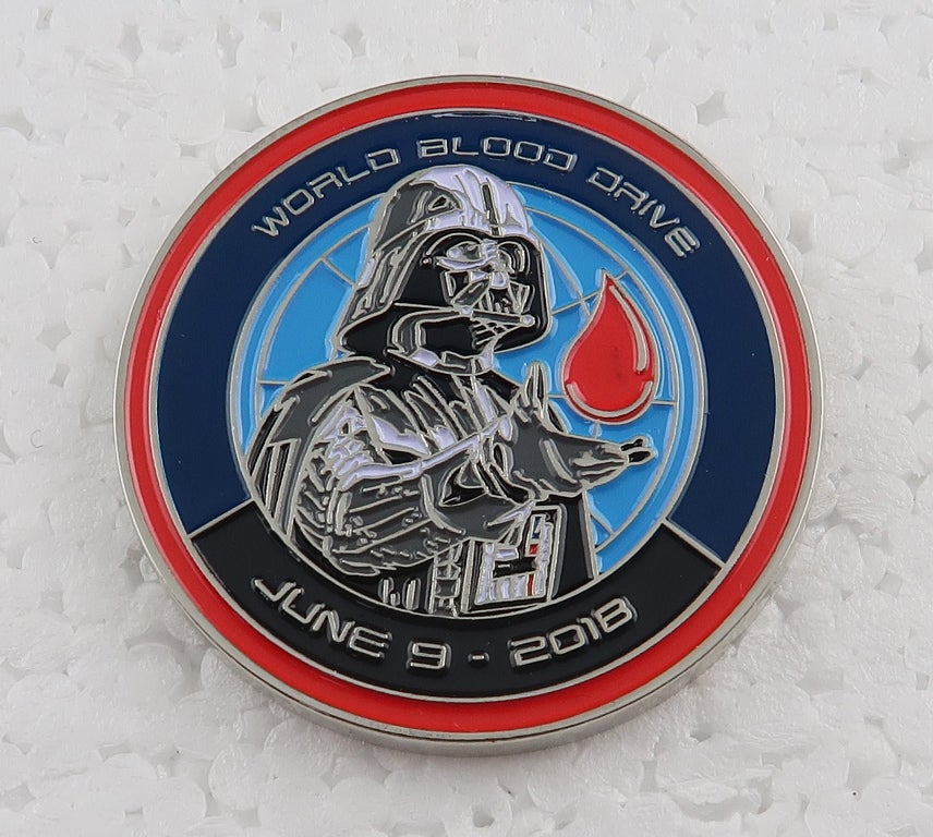 "Image of 2018 World Blood Drive Darth Vader 1.5"" Coin"