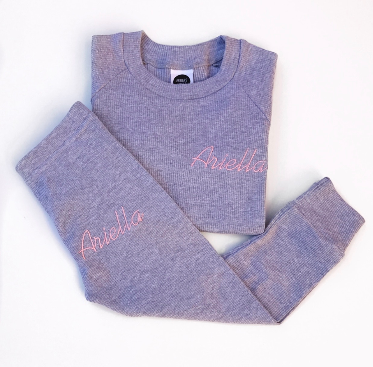 Image of PERSONALISED RIBBED GREY MARL LOUNGE SET