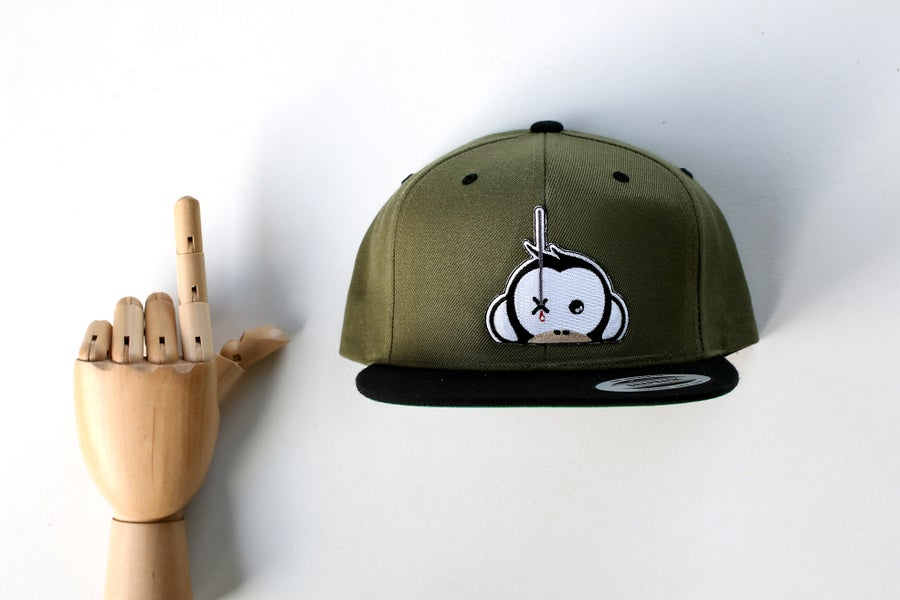 Image of Monkey Climber Logo Patch Snapback I Olive w/ Black Peak