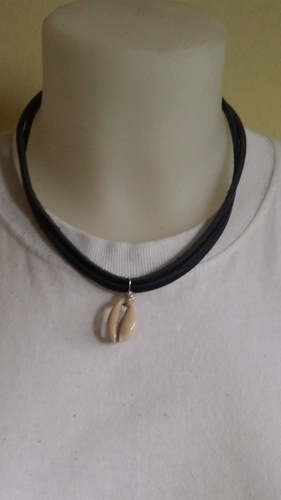 Image of Leather Cowrie Shell Choker