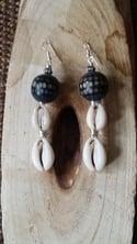 Cowrie Shell Drop Ear-Rings