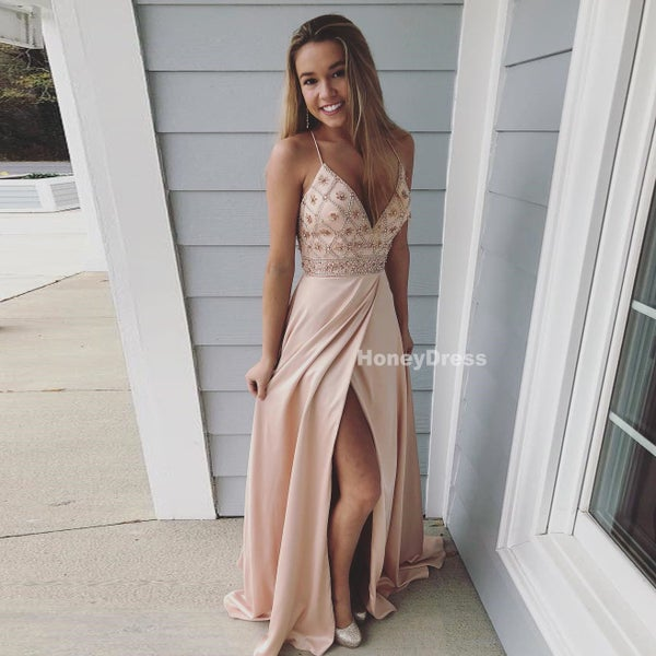 Image of Champagne Silk Satin Spaghetti Strap V-Neck Beading Top Long Prom Gown With Side Slit