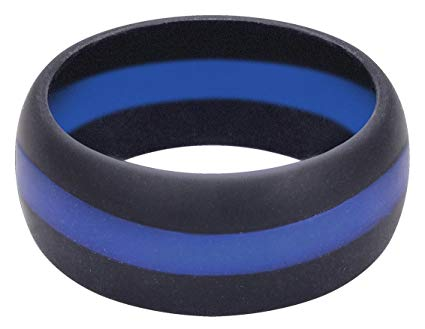 Image of Thin Blue/Red Line Silicon Ring
