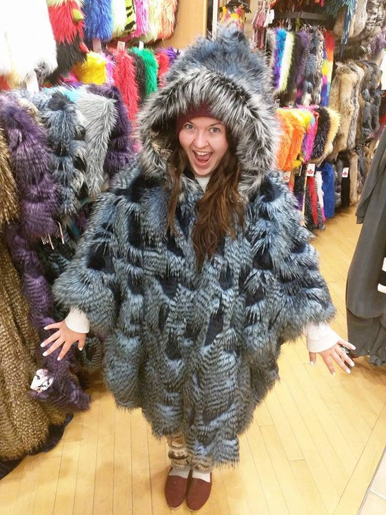 Image of Fun Fur Poncho: Feathers