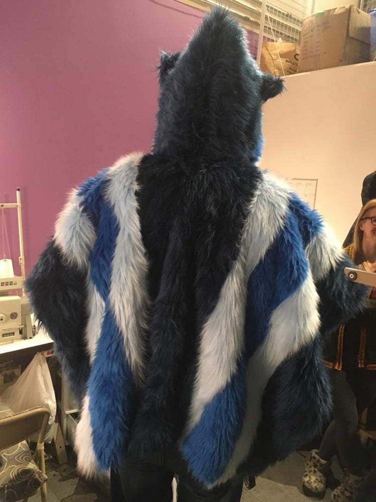 Image of Fun Fur Poncho: Ocean Blues