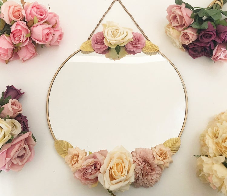Image of Miroir fleuri 30cm (sans prénom)