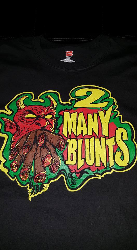 Image of 2 MANY BLUNTS DEVIL LOGO T SHIRT (IN STOCK)