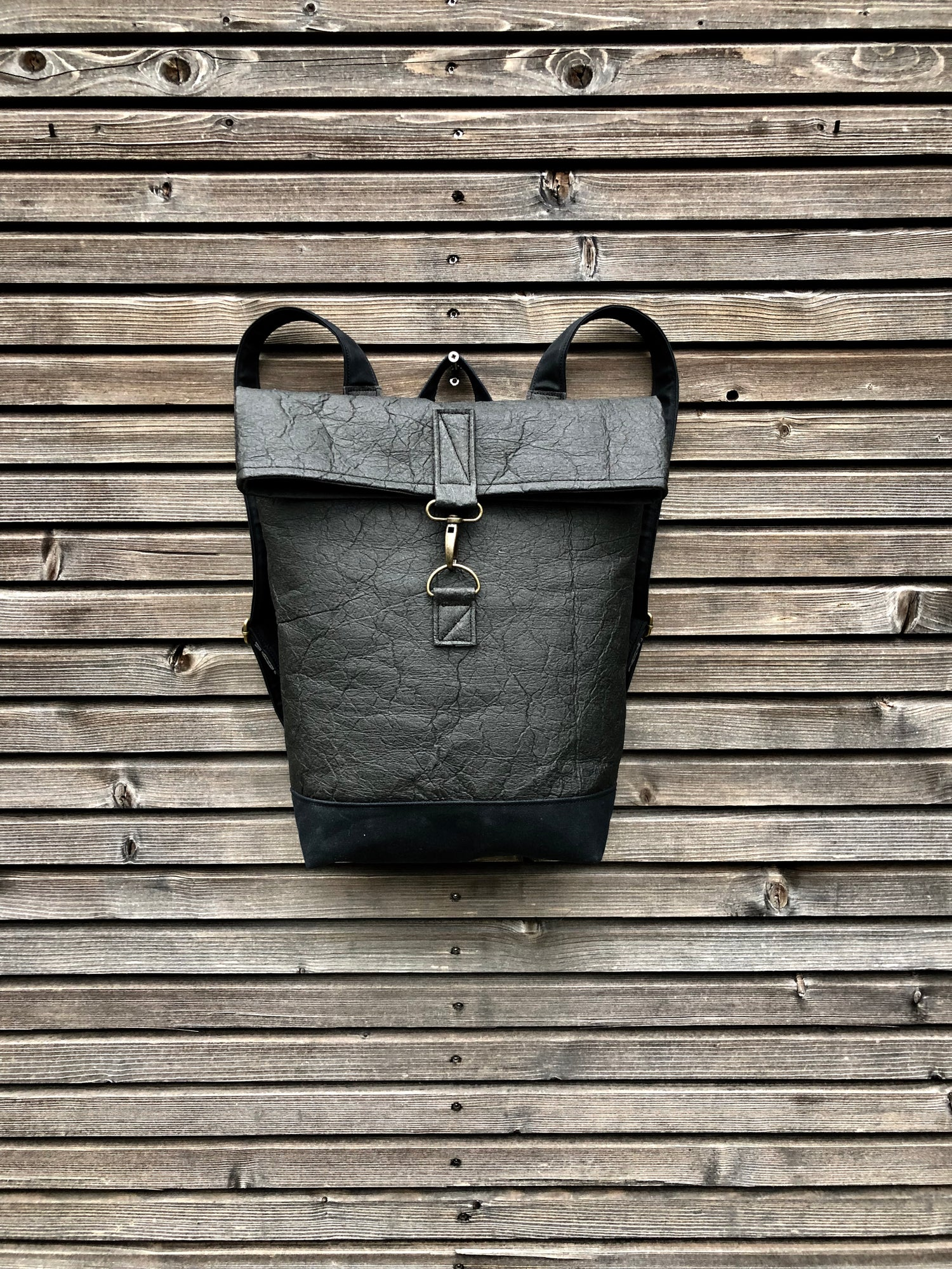 Image of Vegan backpack in Piñatex™ and waxed canvas medium size with folded top