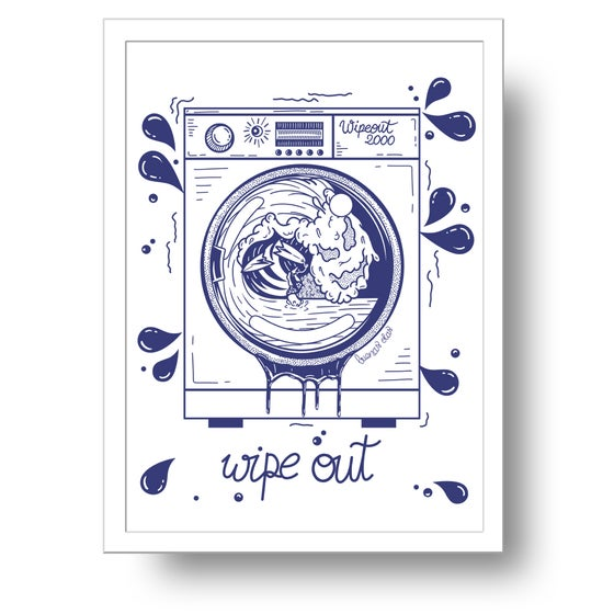 Image of Wipe out washing machine print