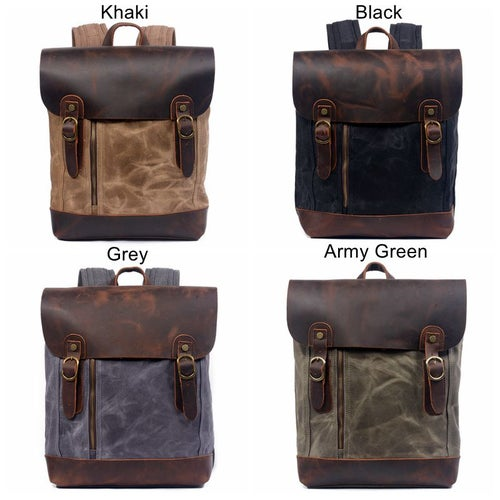 Image of Waterproof Waxed Canvas Leather Backpack Casual Backpack School Backpack 6659W