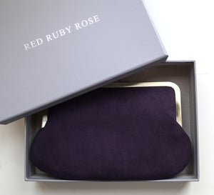 Image of Purple suede clutch bag with chain handle