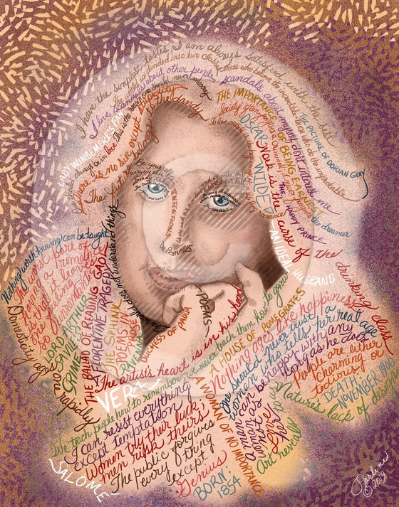 Image of Oscar Wilde Quotes Portrait Fine Art Print