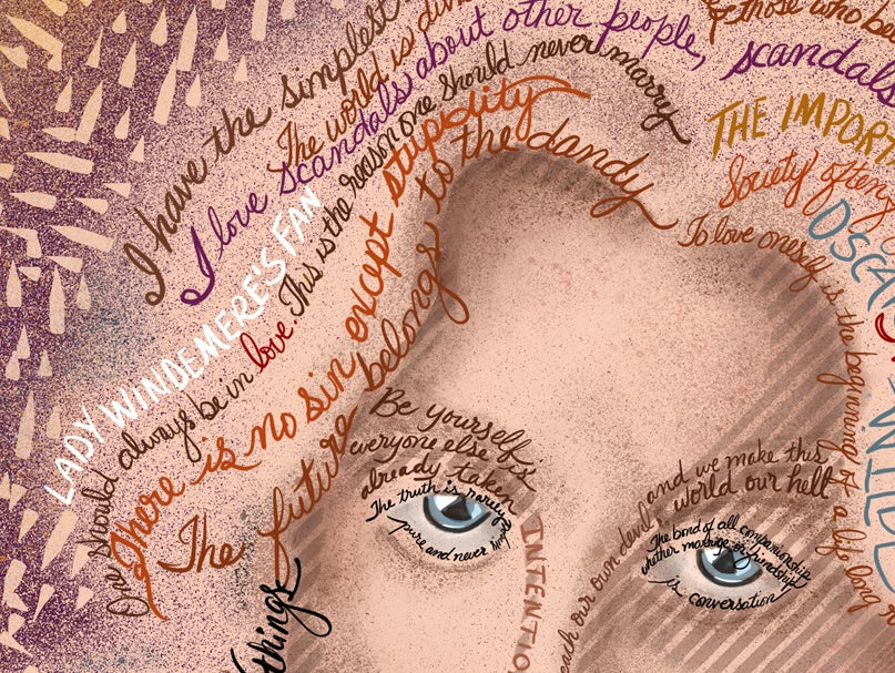 Image of Oscar Wilde Quotes Portrait Fine Art Print