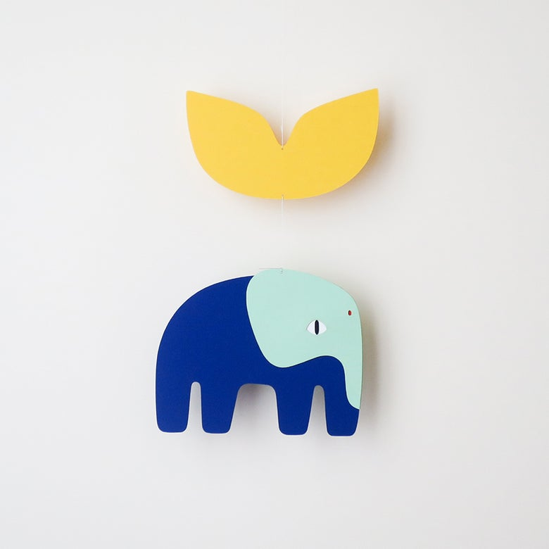 Image of Blaise elephant yellow, paper mobile