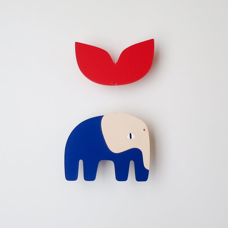 Image of Blaise elephant red, paper mobile