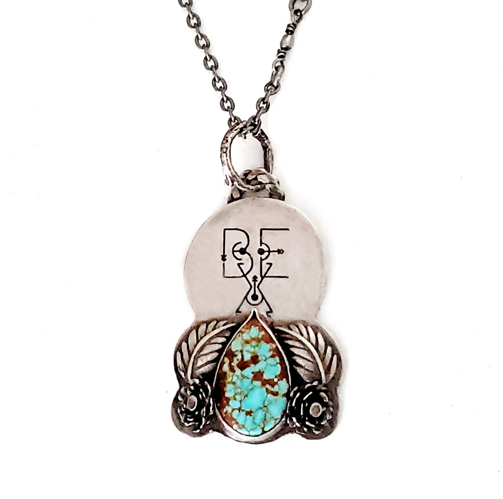 Image of BE X™ Hand Fabricated Sterling and Tuquoise Pendant Necklace