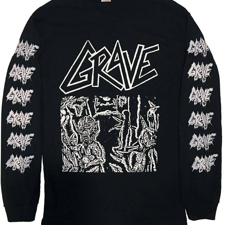 "Image of Grave "" Anatomia Corporis Humani "" Long Sleeve T shirt with sleeve prints"