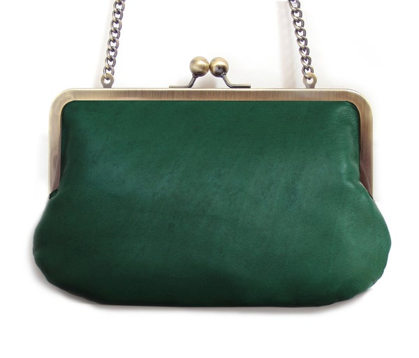 Image of Green leather clutch purse with chain handle
