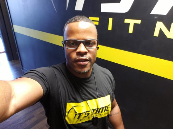 Image of Black and Yellow It's Time Fitness Logo T Shirt