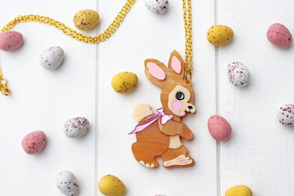 Retro Easter Rabbit Necklace  - Black Heart Creatives