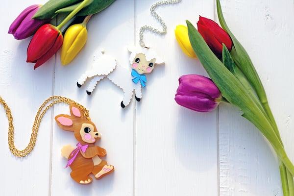 Retro Easter Lamb Necklace  - Black Heart Creatives