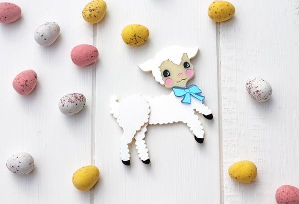 Retro Easter Lamb Brooch - Black Heart Creatives