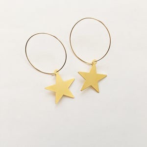 Image of Golden Star Hoop Earrings